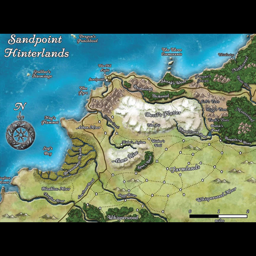 High Quality Sandpoint Hinterlands Map